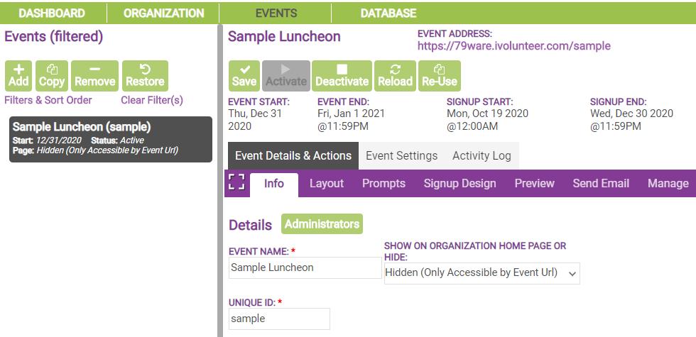 deactivate sample event