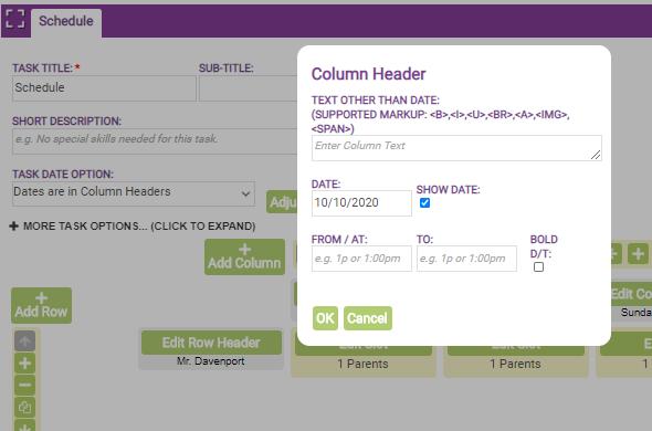 task signup sheet columns and rows