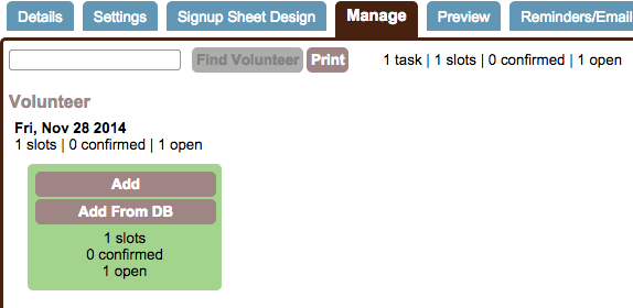 manage tab